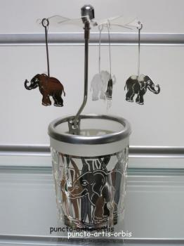Glas Karussell Happy Elefant
