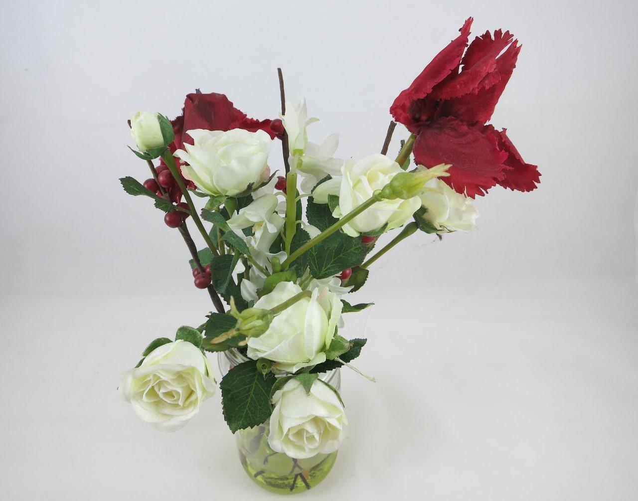 bauernstrauß im glas 30 cm, weiße rosen, deko, sia home fashion