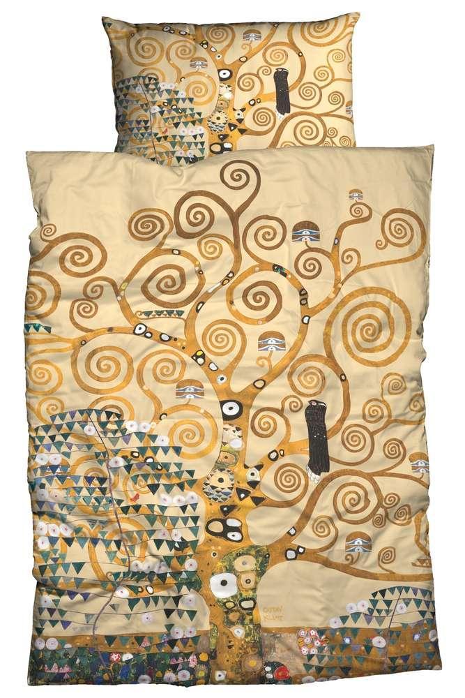 Gustav Klimt Bettwäsche Lebensbaum schwarz gold Kunst Satin Digitaldruck